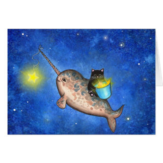 Hanging Stars with a Friendly Narwhal Cards