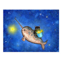 Hanging Stars with a Friendly Narwhal Postcard