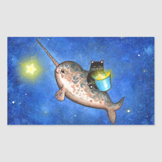 Hanging Stars with a Friendly Narwhal Rectangular Sticker