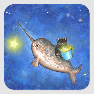 Hanging Stars with a Friendly Narwhal Square Sticker