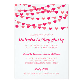 Hanging String Love Hearts Valentine's Day Party 5x7 Paper Invitation Card