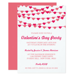 Hanging String Love Hearts Valentines Day Party Invitation
