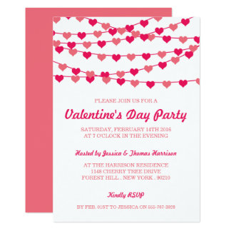 Hanging String Love Hearts Valentine's Day Party Invitation