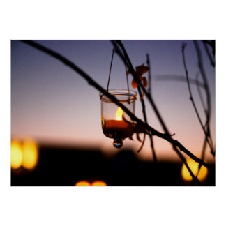 Hanging Tea Light Candle at Dusk Poster