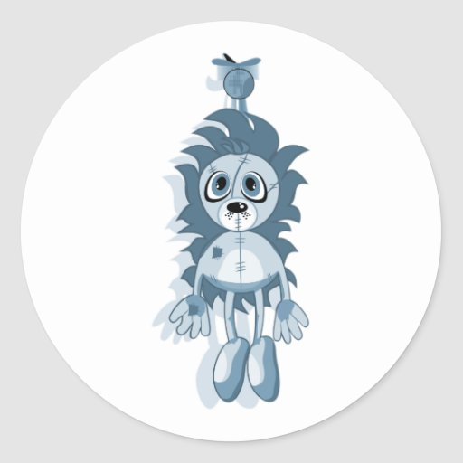 Hanging Teddy Blue Classic Round Sticker