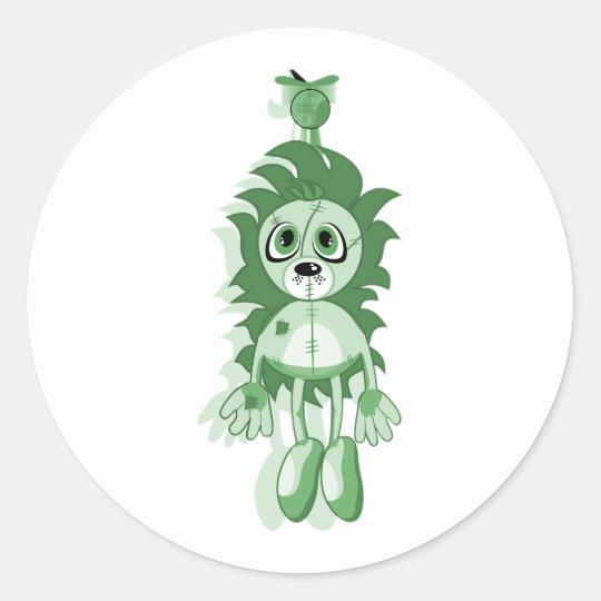 Hanging Teddy Green Classic Round Sticker