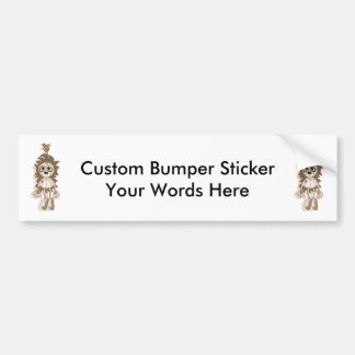 Hanging Teddy Orange Sepia Bumper Sticker