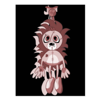 Hanging Teddy Red Postcard