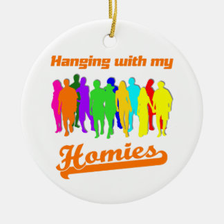 Hanging with my Homies Double-Sided Ceramic Round Christmas Ornament