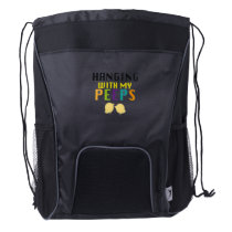 Hanging With My Peeps Funny Easter Drawstring Backpack