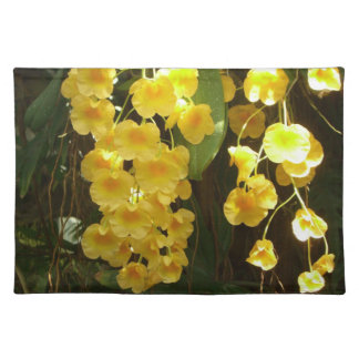 Hanging Yellow Orchids Placemat Cloth Place Mat