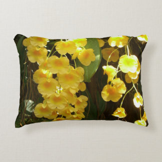 Hanging Yellow Orchids Tropical Flowers Accent Pillow