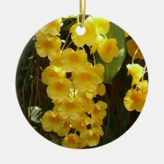 Hanging Yellow Orchids Tropical Flowers Ceramic Ornament