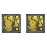 Hanging Yellow Orchids Tropical Flowers Gunmetal Finish Cufflinks