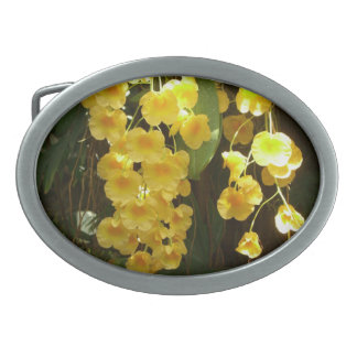 Hanging Yellow Orchids Tropical Flowers Oval Belt Buckle