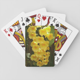 Hanging Yellow Orchids Tropical Flowers Playing Cards