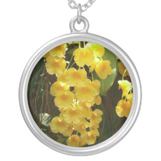 Hanging Yellow Orchids Tropical Flowers Round Pendant Necklace