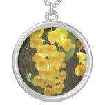 Hanging Yellow Orchids Tropical Flowers Silver Plated Necklace