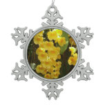 Hanging Yellow Orchids Tropical Flowers Snowflake Pewter Christmas Ornament