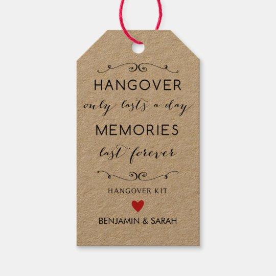 hangover kit tags wedding favor tags
