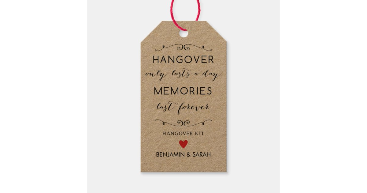 Hangover Kit Tags / Wedding Favor Tags Zazzle