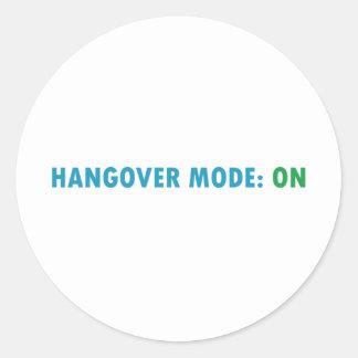 Hangover mode round sticker