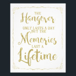 "hangover party sign, wedding sign, gold glitter photo print<br><div class=""desc"">wedding sign</div>"
