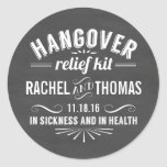 Hangover Relief Kit | Chalkboard Wedding Favor Classic Round Sticker