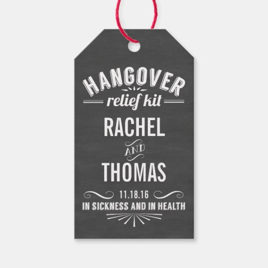 Hangover Relief Kit Chalkboard Wedding Favor Gift Tags Zazzle