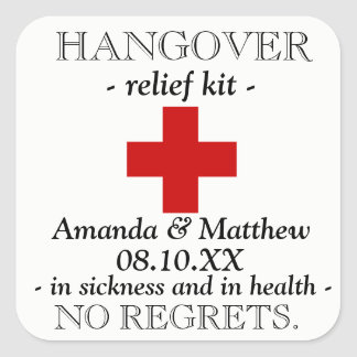 Hangover Relief Kit Favor Sticker
