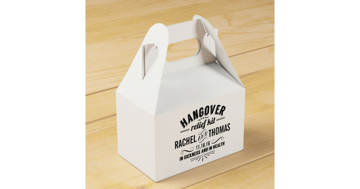 Hangover Relief Kit Vintage Style Wedding Favor Box