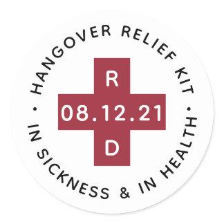 Hangover Relief Kit   Wedding Favor Classic Round Sticker