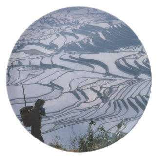 Hani girl carrying basket with rice terrace, melamine plate