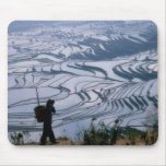Hani girl carrying basket with rice terrace, mouse pad