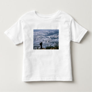 Hani girl carrying basket with rice terrace, toddler t-shirt