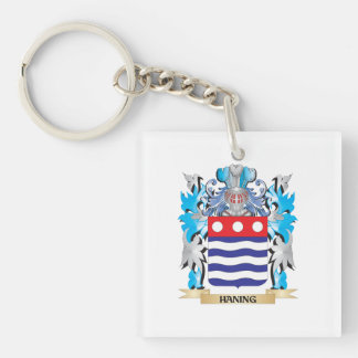 Haning Coat of Arms - Family Crest Single-Sided Square Acrylic Keychain