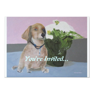 Hank - Dachsund Portrait by Laurie Mitchell 5x7 Paper Invitation Card