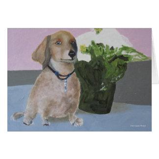 Hank - retrato del perro de patas muy cortas de La Tarjeta