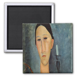 Hanka Zborowska with a Candlestick, 1919 2 Inch Square Magnet