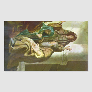 Hannah and Simeon in the temple by Rembrandt Rectangular Sticker