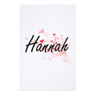 Hannah Artistic Name Design with Hearts Stationery