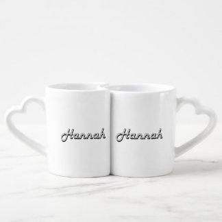 Hannah Classic Retro Name Design Couples' Coffee Mug Set
