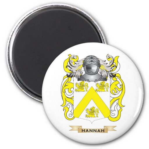Hannah Coat of Arms (Family Crest) 2 Inch Round Magnet
