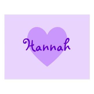Hannah en púrpura postal