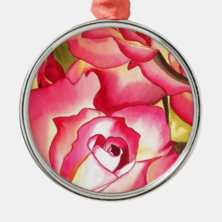 Hannah Gordon pink Rose watercolor art Metal Ornament