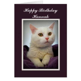 Hannah Happy Birthday White Cat Card
