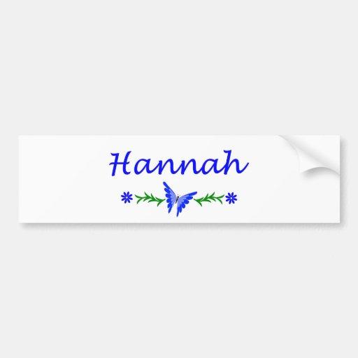 Hannah (mariposa azul) etiqueta de parachoque