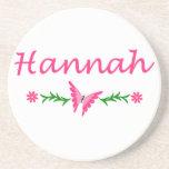 Hannah (mariposa rosada) posavasos personalizados
