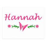 Hannah (mariposa rosada) postales