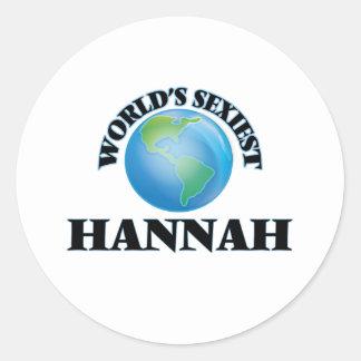 Hannah más atractiva del mundo pegatina redonda